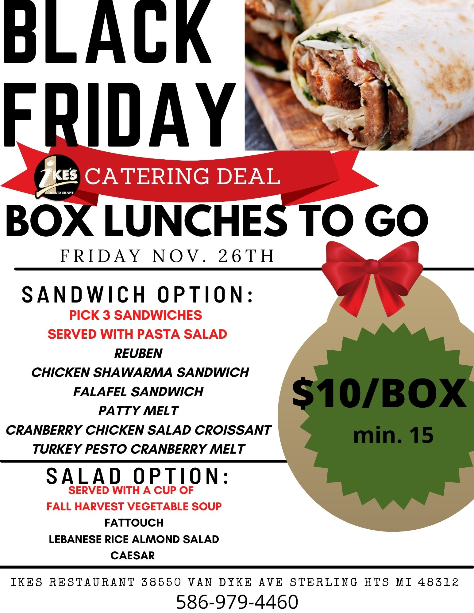 BLACK FRIDAY BOX LUNCHES