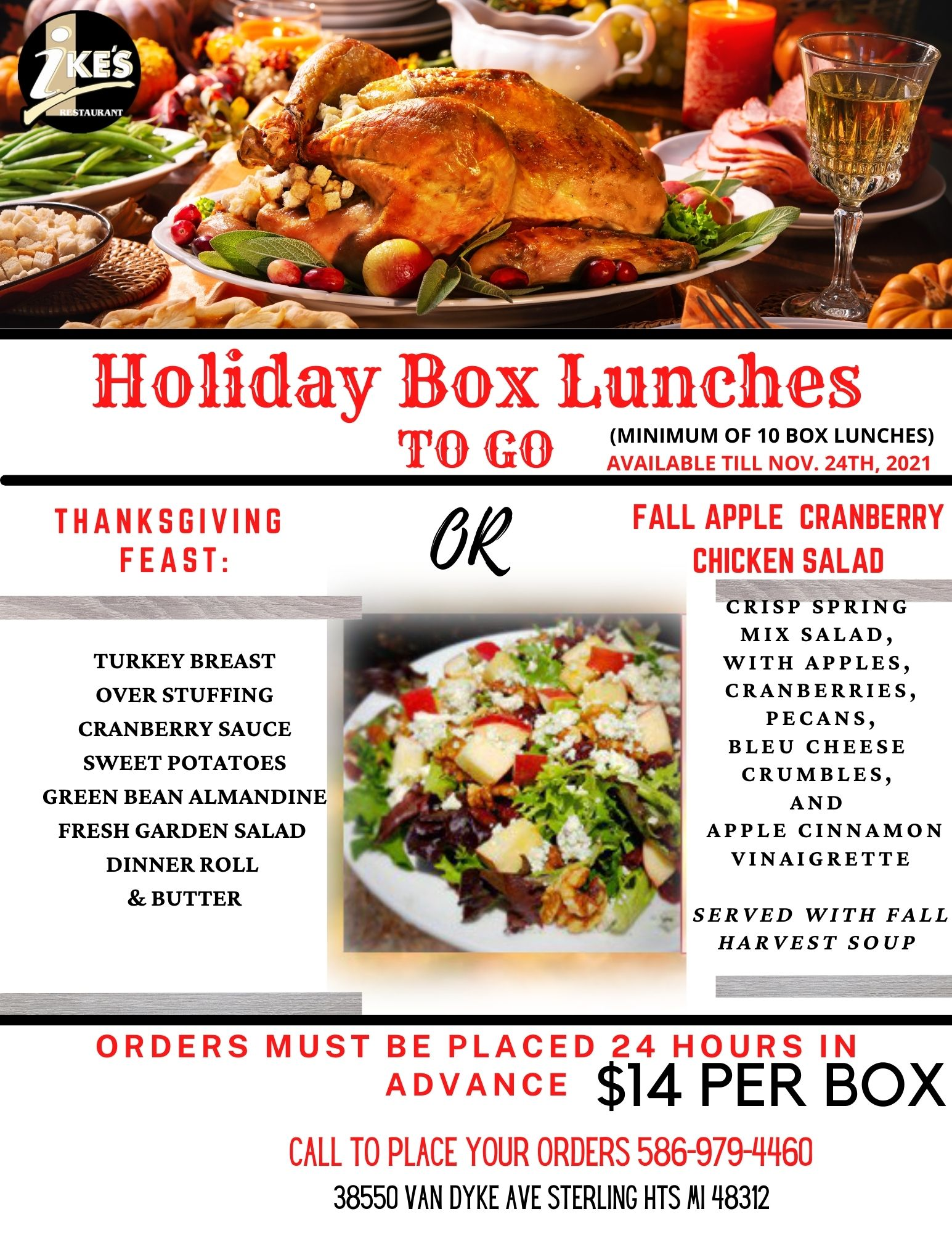 thanksgiving to go box lunch 2021